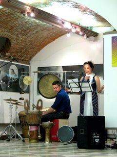 Lorenzo Gasperoni e Lucrezia Maniscotti all'inaugurazione della mostra di M.L.Grimani